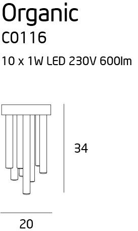 Stropní svítidlo Maxlight Organic copper malé, C0116
